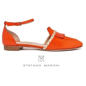 Stefano Maroni Fringed Leather Flats